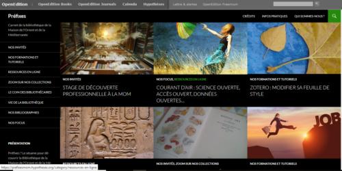 Capture d'écran du carnet de Préfixes, on remarque les différentes catégories que contient le blog sur le côté gauche que l'on retrouve en banderole. Licence Creative Commons CC BY .