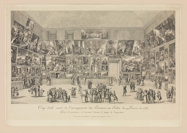 Pietro Antonio Martini, View of the Salon of 1785, 1785, etching, 27.6 x 48.6 cm (image), 36.2 x 52.7 cm (The Metropolitan Museum of Art). © Licences commerciales et autres types.